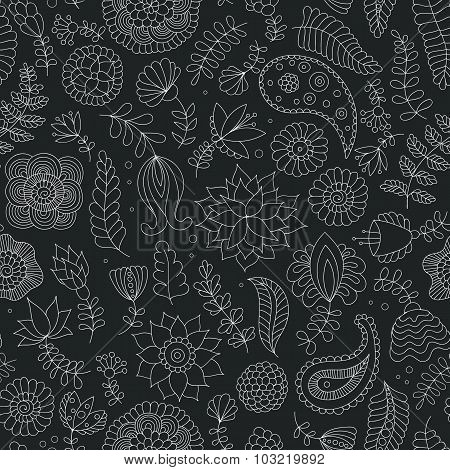 Seamless doodle flowers black and white pattern