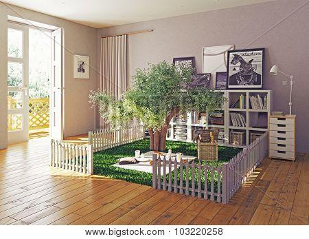 The best interior for reading books. 3D illustration concept