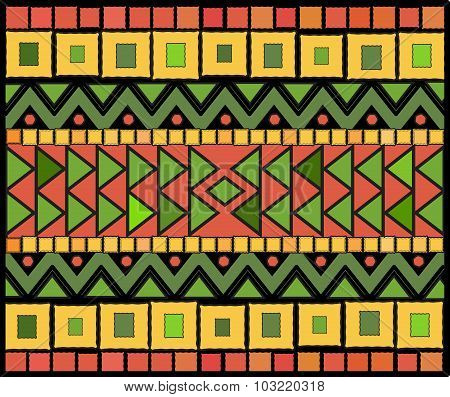 Abstract Ethnic Pattern Of Squares And Triangles.vector