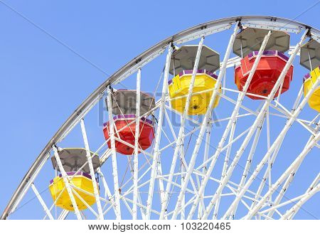 Close Up Picture Of Ferris Wheel Against Blue Sky.