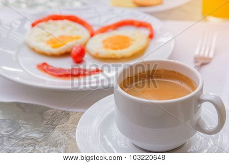 Happy Face Frying Eggs Breakfast With Coffee