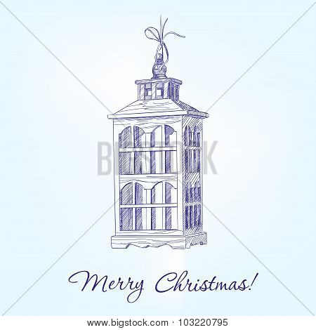 Christmas decorations old lamp hand drawn vector llustration realistic sketch