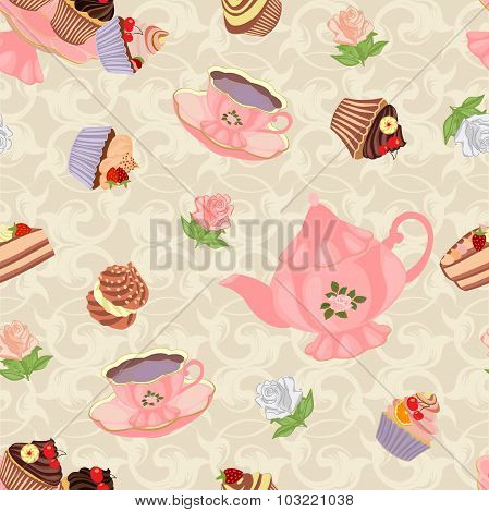 Seamless pattern with teapot, cups, cakes and roses.
