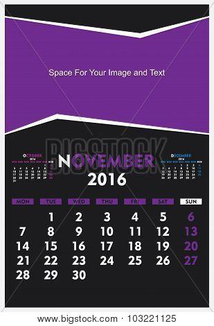 new year calendar November 2016 design