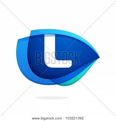 L Letter Logo With Blue Wing Or Eye.
