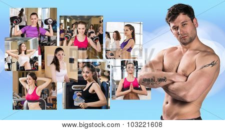 Collage of pretty girls and young guy