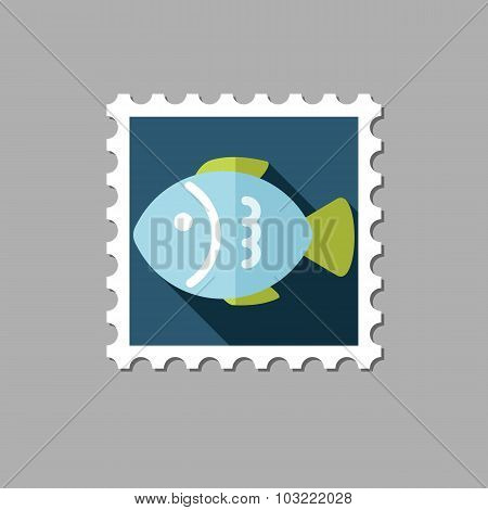 Fish flat stamp with long shadow