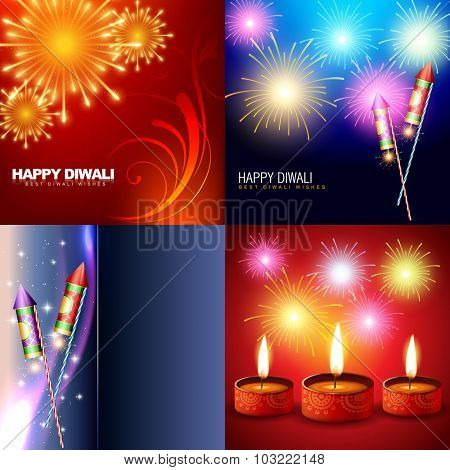 vector set of diwali holiday background with fireworks and diya