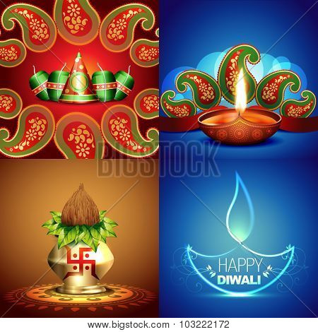 vector collection of different types of diwali background with decorated diya and crackers