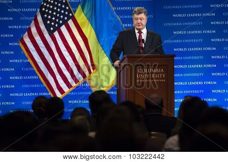 Petro Poroshenko At Columbia University In New York City