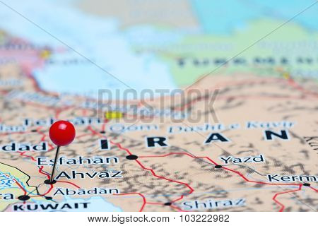Ahvaz pinned on a map of Asia