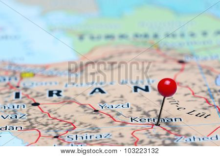 Kerman pinned on a map of Asia