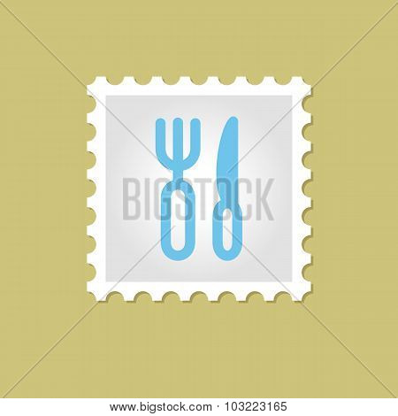 Fork and Knife vector stamp