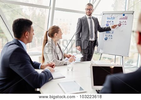 Confident businessman by whiteboard showing data upon sales on the market to his colleagues