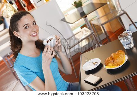 Girl At The Cafe Having Coffee Break With Cappuccino