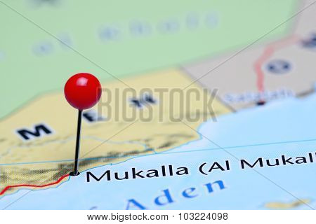 Mukalla pinned on a map of Asia
