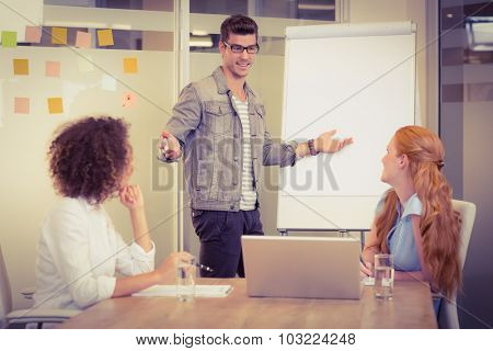 Businessman explaining female colleagues using whiteboard in office during meeting