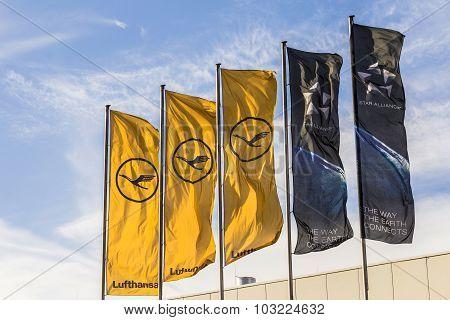 Lufthansa Flag With Lufthansa Symbol, The Crane And Star Alliance Flag