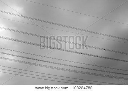 High-voltage Cables Against The Sky