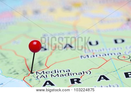 Medina pinned on a map of Asia