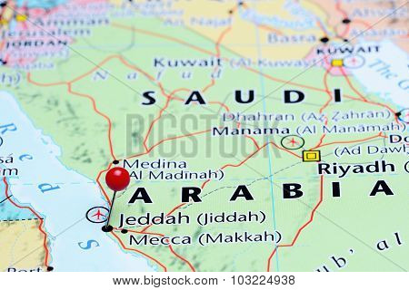 Jeddah pinned on a map of Asia