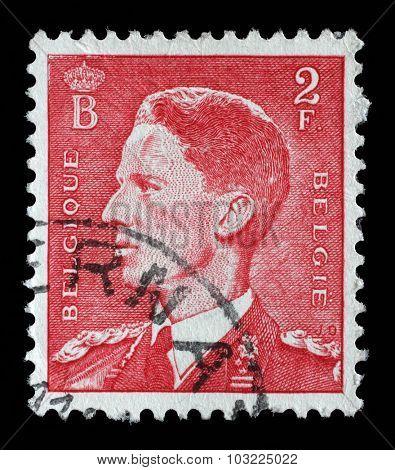 BELGIUM - CIRCA 1958: a stamp printed in the Belgium shows King Baudouin, Belgian king, circa 1958