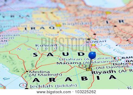 Riyadh pinned on a map of Asia