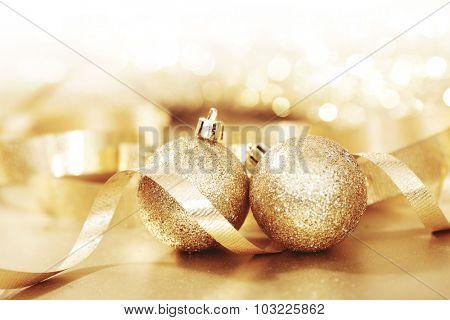 Close-up of beautiful golden glitter christmas decorative balls