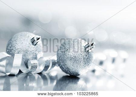 Close-up of beautiful silver glitter christmas decorative balls