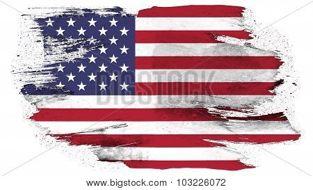 Flag of the United States of America, USA flag painted with brush on solid background, paint texture
