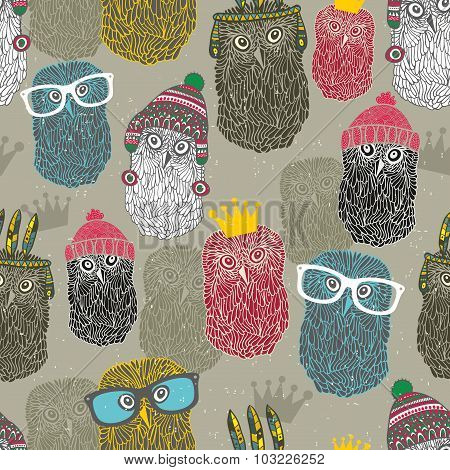 Seamless pattern with group of owls for hipster background.