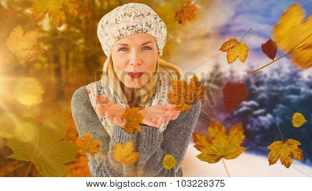 Happy winter blonde against autumn changing to winter