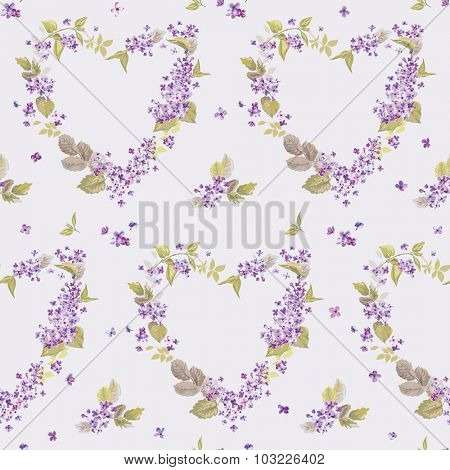 Spring Hearts Flowers Backgrounds - Seamless Floral Shabby Chic Pattern
