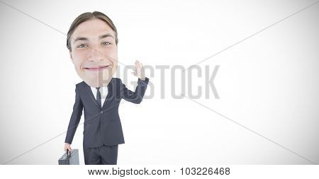 Geeky businessman waving against white background with vignette