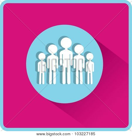 Group of children. Flat vector icon.