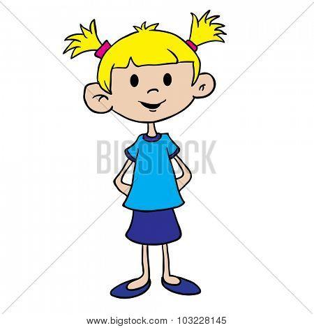little girl in blue dress cartoon illustration