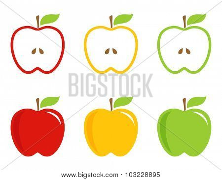 Yellow, green and red stylized apples. Apples  whole and half in bright colors. Vector logotype, icon, sign.