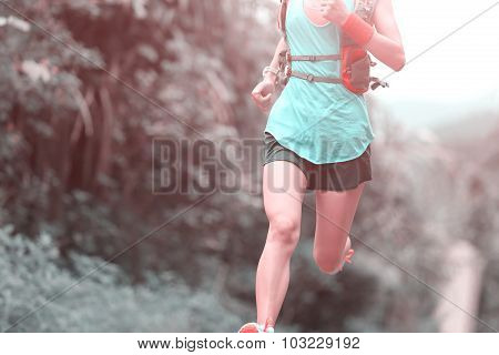 batrail runner athlete running on forest trail
