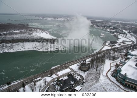 Aerial View Of Niagara Falls In The Winter