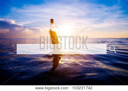 Searching help Message Bottle Beach Sea Concept