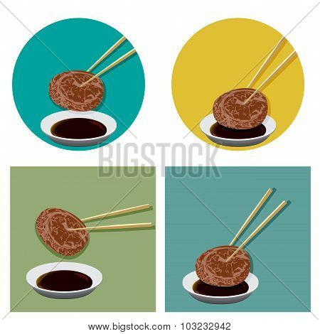 Piece Of Meat Is Holding With Chopsticks And Sauce