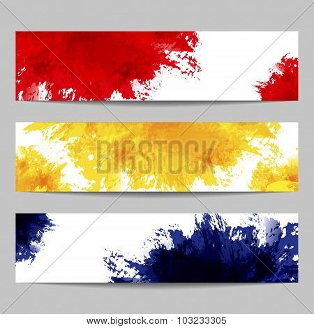 Set Of Three Banners With Paint Splashes