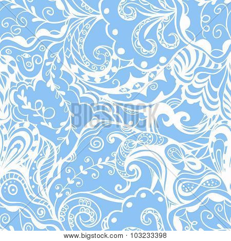 Seamless abstract hand-drawn floral pattern