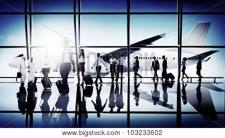 Business People Traveling Airplane Airport Concept