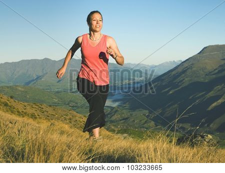 Woman Jogging Exercise Mountain Range Concept