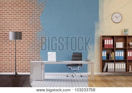 Renovation of business office in three different variations (3D Rendering)