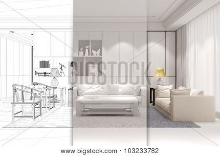 Architect doing CAD room planning for a modern living room (3D Rendering)