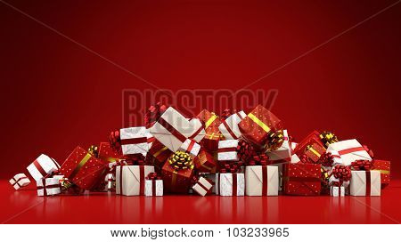 Heap of many different gifts for christmas on a red background (3D Rendering)
