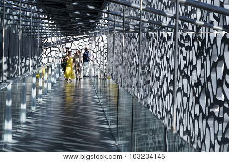 People Visit The Modern Building Of Museum Of European And Mediterranean Civilizations