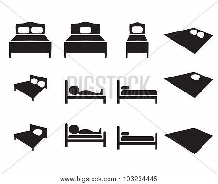 Set Of Hotel Icon, Bed Sign